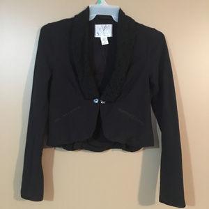 Free People Black Lace Lapel Blazer Jacket Medium